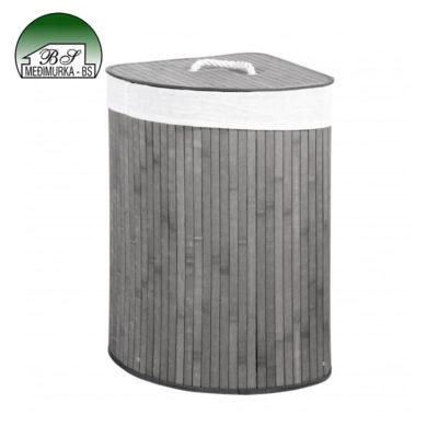 Kutna košara za rublje od bambusa siva